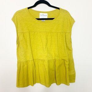 Anthropologie velvet shirt yellow